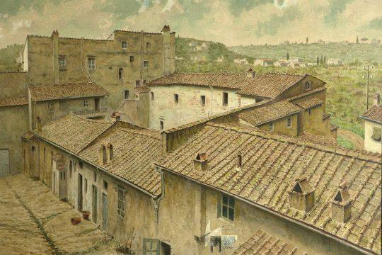 Fabbricato di via del Paradiso - Veduta vista dall'alto del II° e III° cortile allo stato antico
